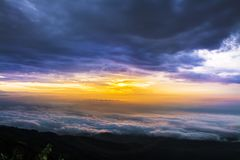 Morning Mist with Mountain ,Sunrise and sea of mis.  Royalty Free Stock Photography