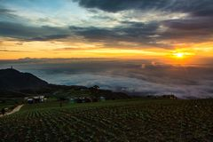 Morning Mist with Mountain ,Sunrise and sea of mis.  Stock Photography