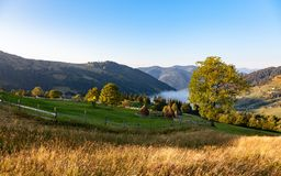 A morning mist between mountains royalty free stock photography