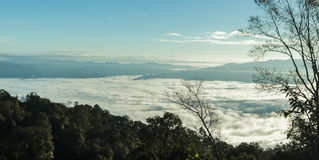 Morning mist mountains during sunrise ,Chiang Mai , Thailand Royalty Free Stock Images