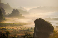 Morning mist and moutain. At Phu Lang Ka, Phayao, Thailand Stock Photos