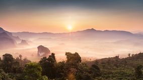 Morning mist and moutain At Phu Lang Ka, Phayao, Thailand Stock Photo