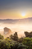 Morning mist and moutain At Phu Lang Ka, Phayao, Thailand Royalty Free Stock Photo