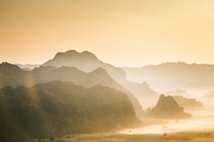 Morning mist and moutain At Phu Lang Ka, Phayao, Thailand Stock Photos