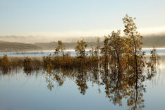 Morning mist over lake Stock Photo
