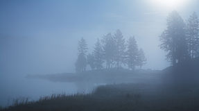 Morning mist over the lake Stock Photo