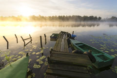 Morning mist over the river haven. Poland Royalty Free Stock Photos
