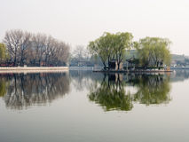Morning mist over Sicha lake in Old Beijing Royalty Free Stock Photos