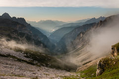 Morning mist over valley in Dolomites Royalty Free Stock Photography