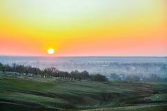 Morning mist over the water. In the Ukrainian steppe. Zaporozhye region, Ukraine. April 2004 Stock Images