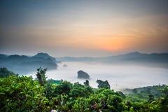 Morning mist At Phu Lang Ka Stock Photos