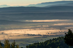 Morning mist in Provence, France. Shot in a quiet morning just about when sun was about to shine Stock Image
