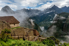 Morning mist rising above Macchu Pichu Valley, Peru Stock Photo