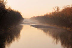 Morning mist river Lech idyll Royalty Free Stock Photo