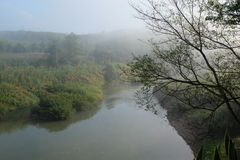 Morning mist and river Stock Photos