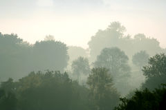 Morning mist in rural Italy. Ponzano Romano Royalty Free Stock Photography