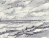 Morning mist by the sea black white watercolor background Stock Image