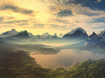 Morning Mist on Serenity Lake. Golden sunrise/sunset over a mountain lake landscape. The mountain tops are covered with snow and the sky reflects back from the royalty free stock images