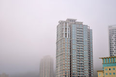 The morning mist shrouded residential building Royalty Free Stock Image