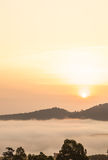 Morning mist and sun Khao Kho, Stock Images