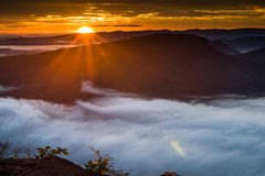 Morning Mist and Sunrise, Cliff, Tropical Mountain Royalty Free Stock Photos