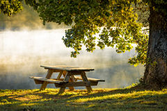 Morning mist and table Stock Images