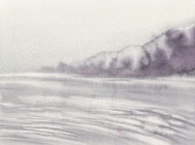 Morning mist watercolor background. Morning mist by the lake black and white watercolor background Stock Photo