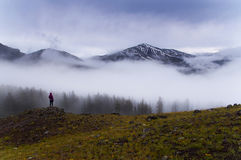 Morning mist in Yellowstone mountains. Woman overlooks giant snowy peak in Yellowstone National Park. Foggy morning in the mountains creates very moody royalty free stock photo
