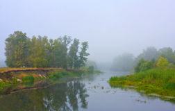 Morning on misty river Stock Photo