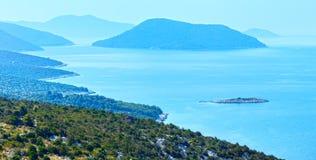 Morning misty summer sea panorama (Croatia) Royalty Free Stock Images