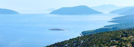 Morning misty summer sea panorama (Croatia) Stock Photography