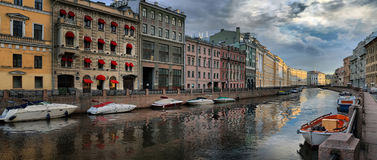 Morning on the Moika River in St. Petersburg. Panorama early morning over the Moika River in Saint Petersburg Royalty Free Stock Photos