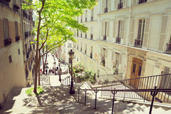 Morning Montmartre staircase in Paris Royalty Free Stock Photography