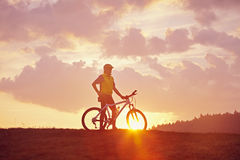 Morning Mood and biker Royalty Free Stock Photo
