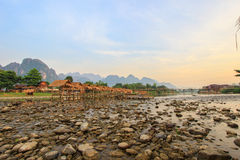 Morning mood at Nam Song River in Vang Vieng,Laos Stock Images
