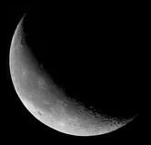 Morning moon. A waning crescent Moon rises before the Sun royalty free stock photo