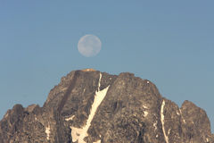 Morning Moon over Tetons Royalty Free Stock Photography