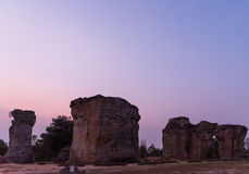 Morning at MorHinKhao is the Stonehenge in Thailand,Chaiyaphum p Royalty Free Stock Photos