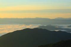 Morning  mountain. Fog    in nan province of thailand Royalty Free Stock Photos