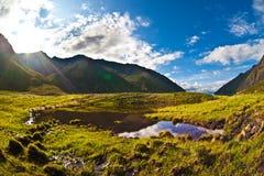 Morning at mountain lake Stock Image