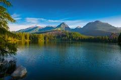 Morning mountain lake in National Park High Tatra Stock Images