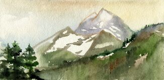 Morning mountain landscape. Cold summer. Snow on the tops of the mountains. Three ate. Watercolor. Illustration