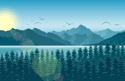 Morning in mountain landscape with forest and river. Illustration of Morning in mountain landscape with forest and river Royalty Free Stock Image