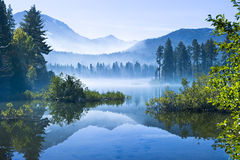 Morning Mountain Mist. At the Lassen Volcano Stock Photo