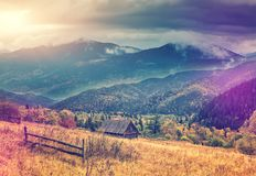 Morning in the mountain village. wonderful rural landscape at sunset royalty free stock photography