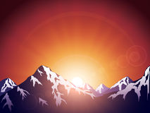 Morning in mountains stock illustration