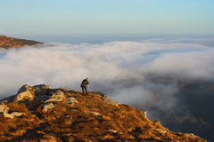 A morning is in mountains. A photographer takes pictures fog from the top of mountain Royalty Free Stock Photo