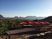Morning mountains and blue sky stock photos