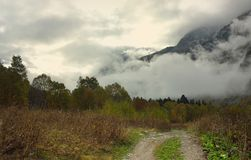Morning in mountains. This is sad morning in Caucasus morning in fall Stock Photos