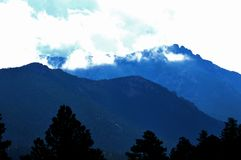 Morning Mountains. Sunrise drive into Rocky Mountain National Forest Stock Photography
